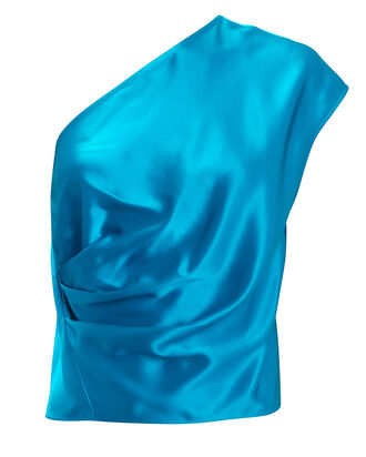 One-Shoulder Draped Top, TEAL, hi-res