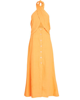 Soffio Halter Linen Midi Dress, ORANGE, hi-res