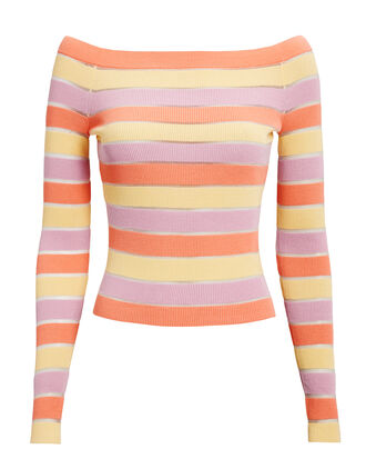 Delia Striped Knit Top, CORAL, hi-res
