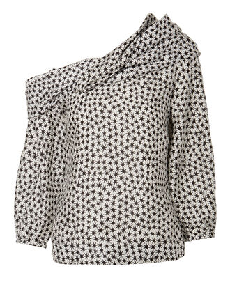 Star Printed Blouse, WHITE, hi-res