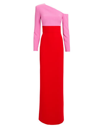 Off Shoulder Colorblocked Gown, RED/PINK, hi-res