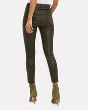 Adelaide Army Green Leather Pants, GREEN, hi-res
