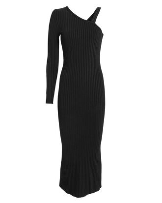 Ribbed Slanted Midi Dress, BLACK, hi-res