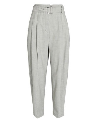 Belted Wool Chambray Utility Pants, GREY-LT, hi-res