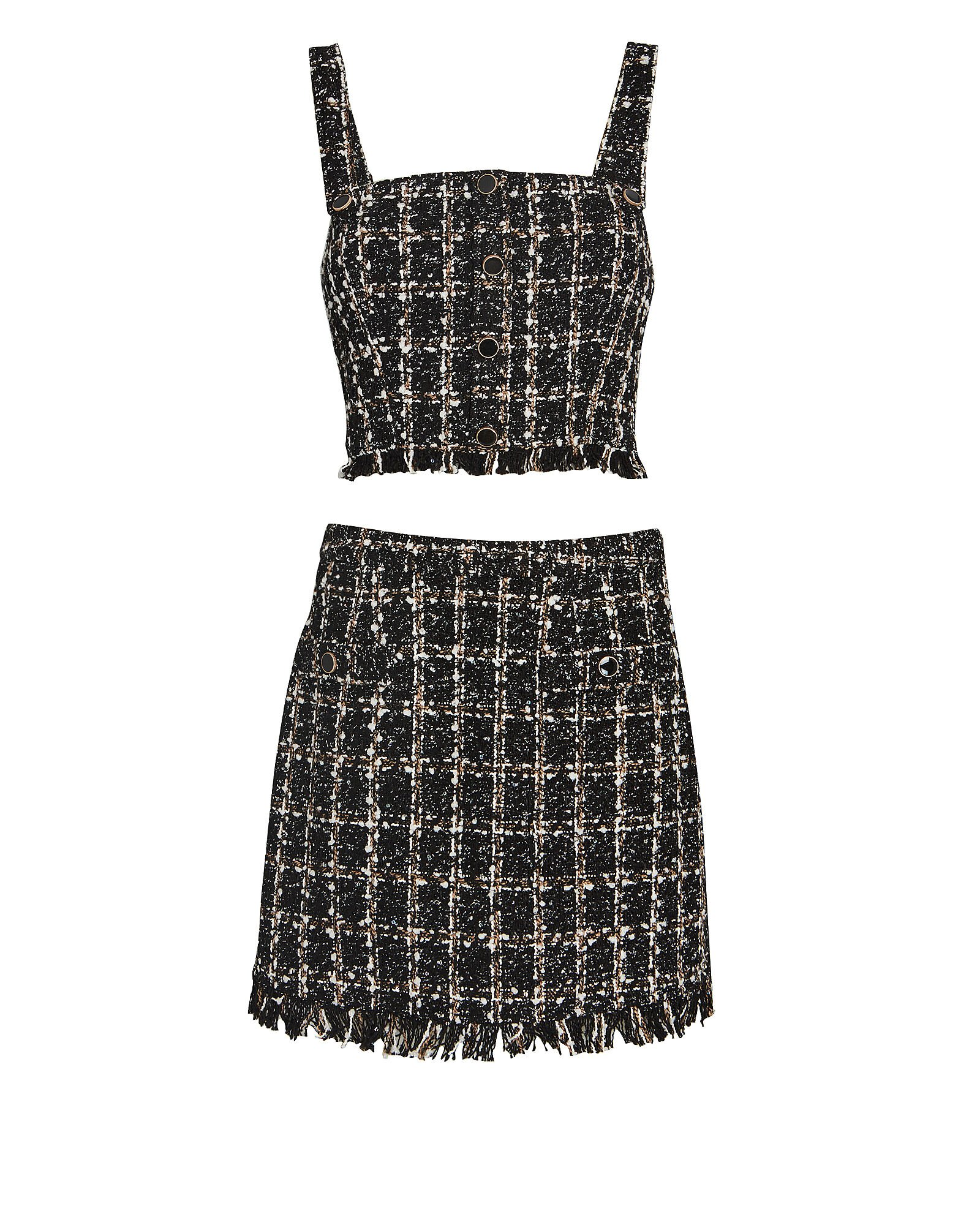 Garaham Tweed Two-Piece Set, BLACK/IVORY/BROWN, hi-res