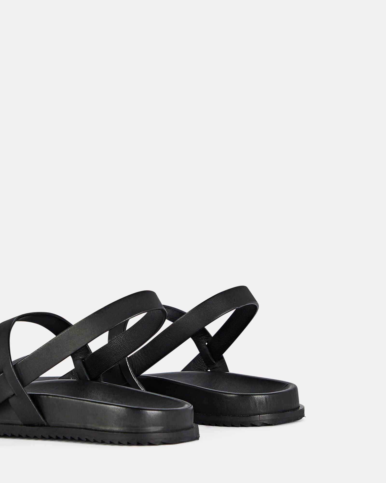 Gio Slingback Leather Flat Sandals, BLACK, hi-res