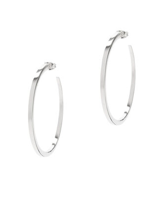 Eclipse Silver-Tone Hoop Earrings, METALLIC, hi-res