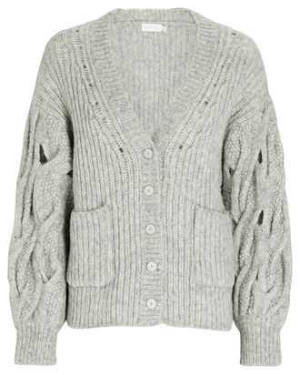 Reagan Lofty Alpaca-Wool Cardigan, GREY, hi-res