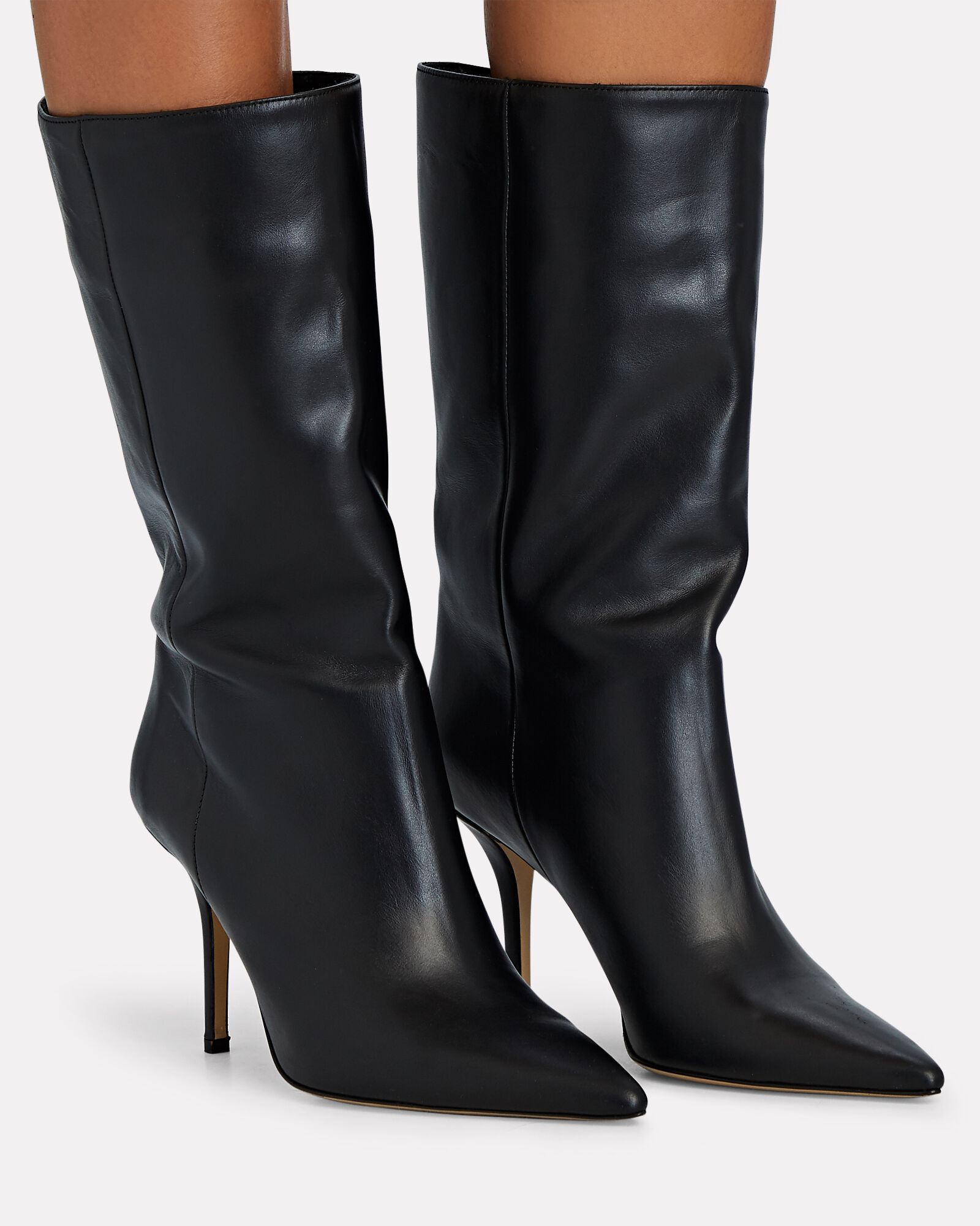 Pointed Toe Leather Booties, BLACK, hi-res