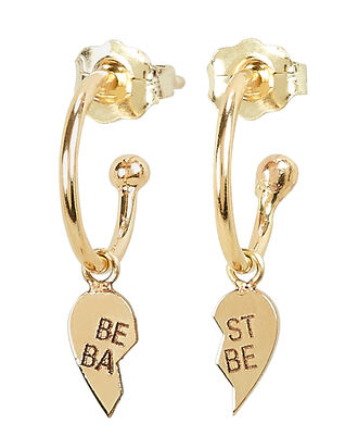 Broken Heart Huggie Hoop Earrings, GOLD, hi-res