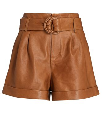 Leather Belted Paperbag Shorts, BROWN, hi-res