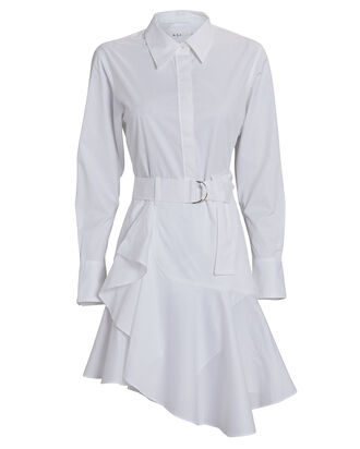 Jacey Cotton Poplin Shirt Dress, WHITE, hi-res