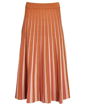 Gigi Pleated Knit Midi Skirt, Orange, hi-res