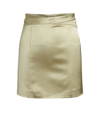 Monteria Satin Mini Skirt, GOLD, hi-res