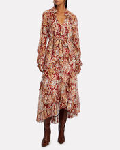 Lucky Ruffled Floral Midi Dress, MULTI, hi-res