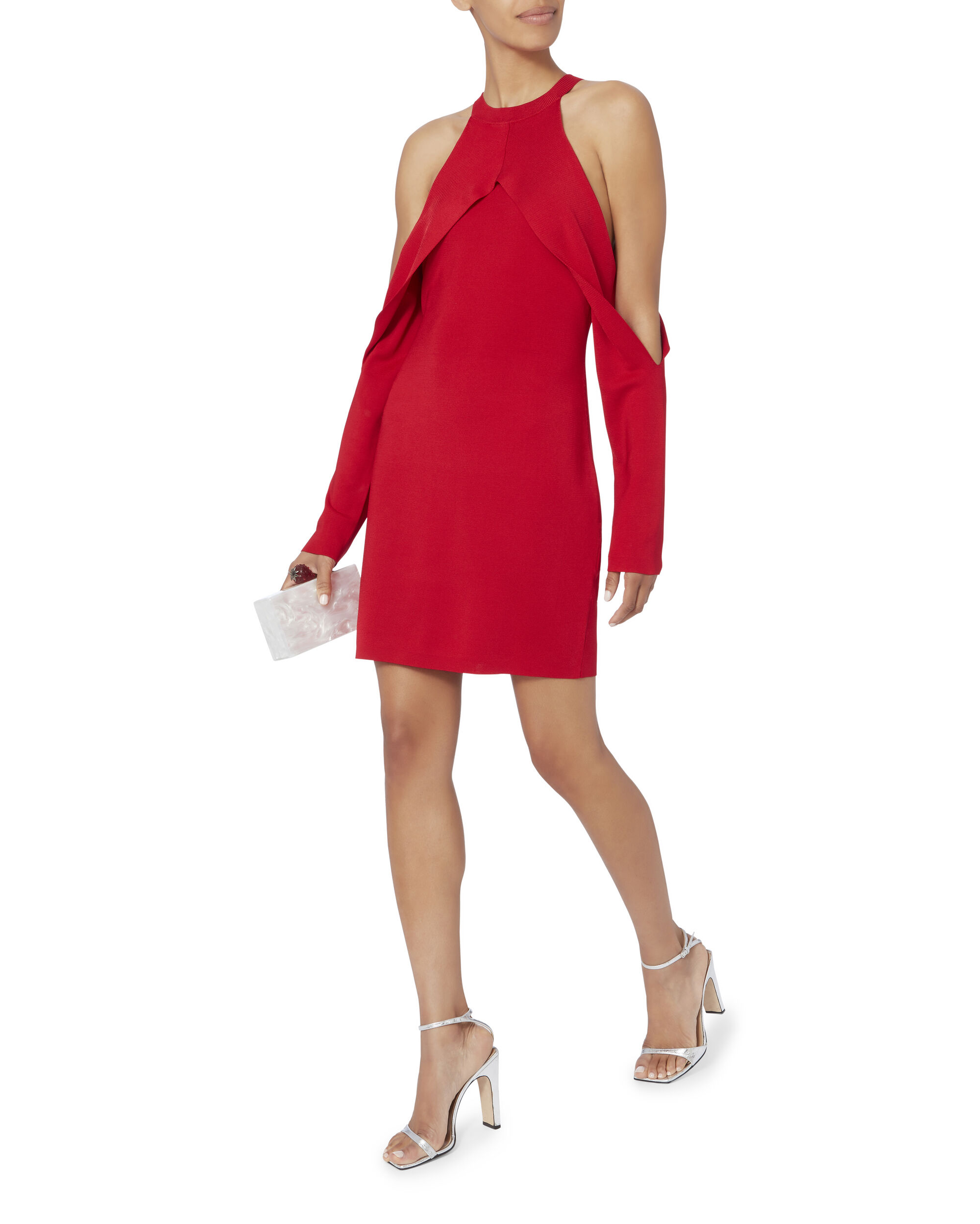 Cherry Sleeve Release Dress, RED, hi-res