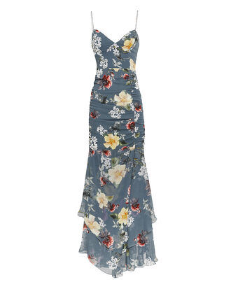 Slate Floral Ruched Maxi Dress, SLATE BLUE, hi-res