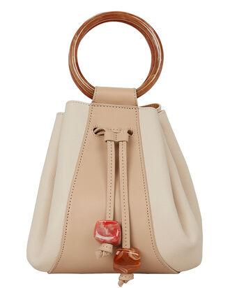 Palma Mini Leather Bucket Bag, IVORY, hi-res