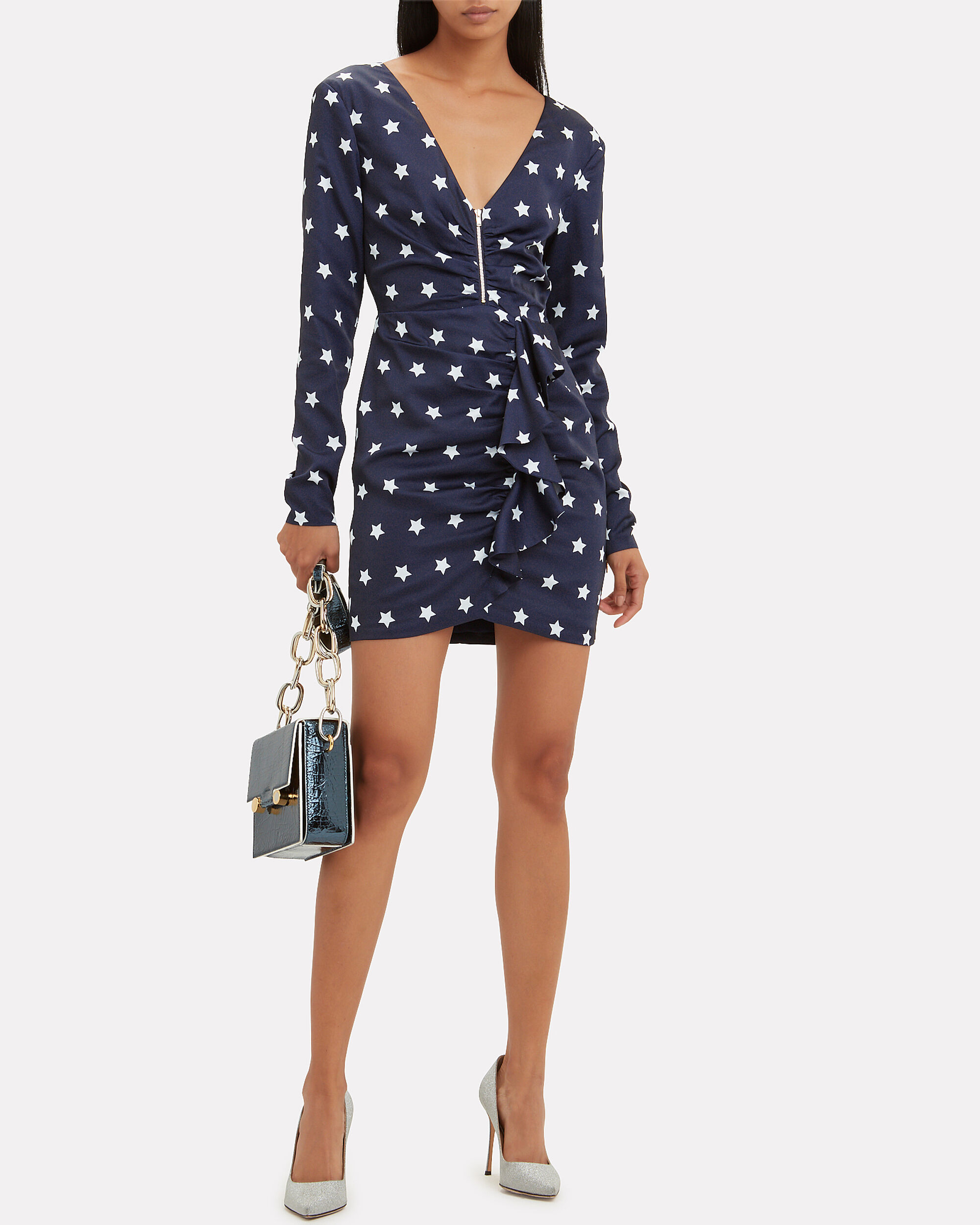 Zip Front Star Mini Dress, NAVY/WHITE, hi-res