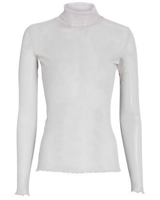 Shimmer Organza Turtleneck Top, PURPLE-LT, hi-res