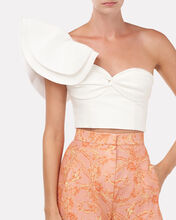 Miray Ruffled One-Shoulder Crop Top, WHITE, hi-res