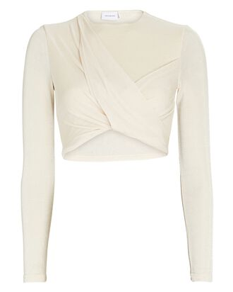 Evelyn Twisted Knit Crop Top, IVORY, hi-res
