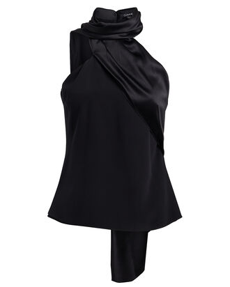 Charmeuse & Crepe Scarf Neck Top, BLACK, hi-res