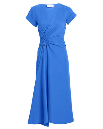Edie Linen Blend Midi Dress, COBALT BLUE, hi-res
