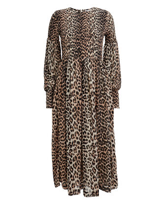 Printed Georgette Smocked Leopard Dress, LEOPARD, hi-res