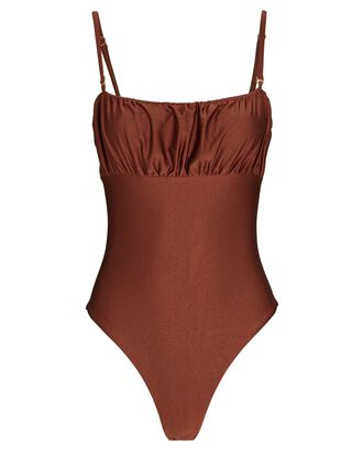 Balsa One-Piece Swimsuit, BROWN, hi-res
