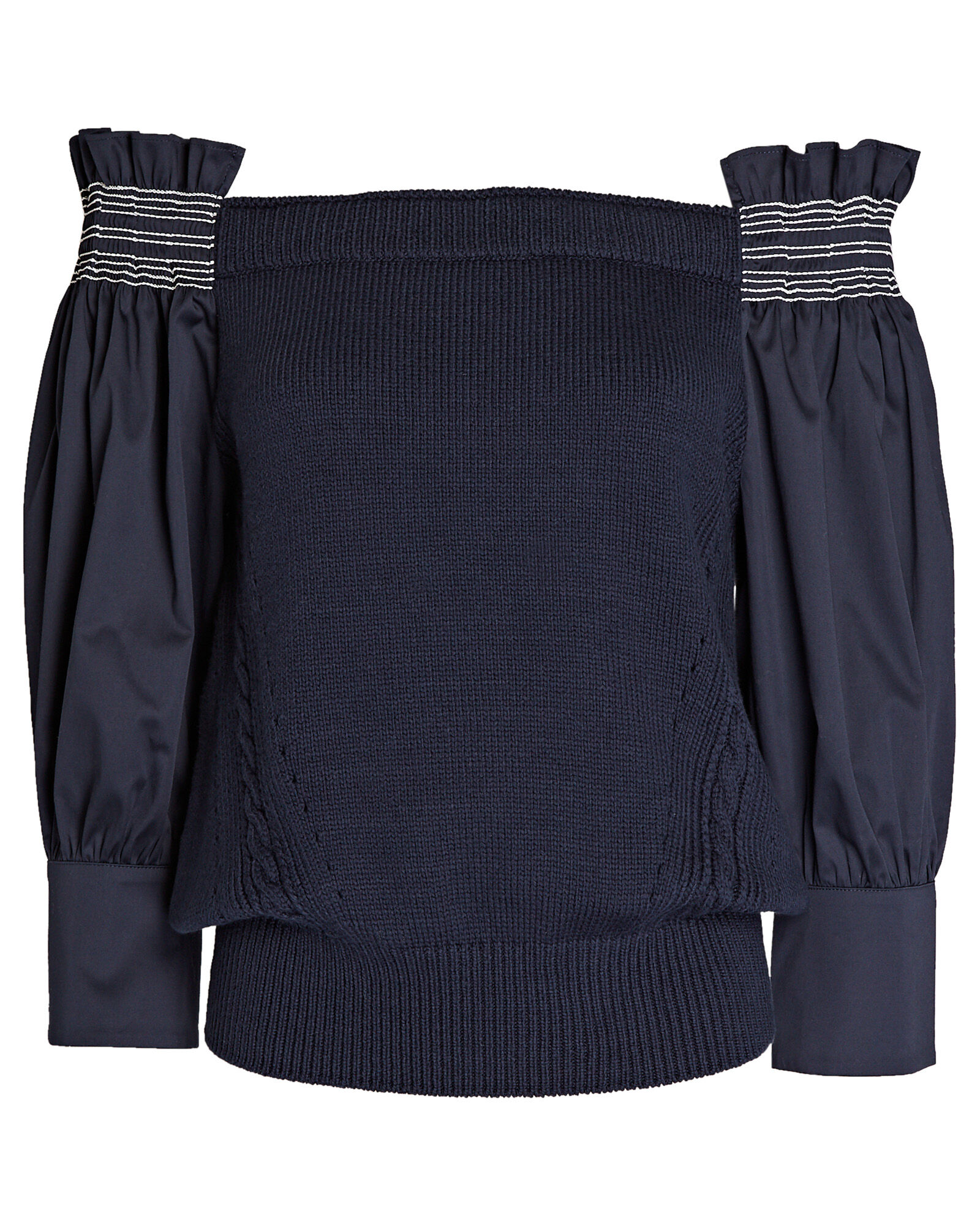 Smocked Off-the-Shoulder Sweater, NAVY, hi-res