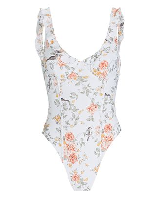 Ruffled Floral One-Piece Swimsuit, WHITE, hi-res
