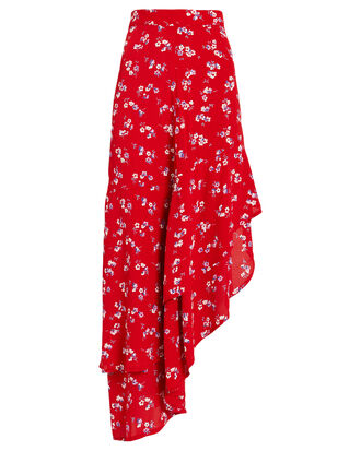 Nadia Asymmetric Skirt, RED/FLORAL, hi-res