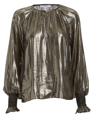 Helena Pleated Lamé Blouse, GOLD, hi-res
