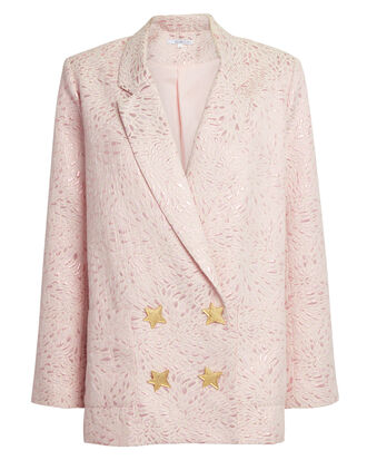 Betty Metallic Pink Blazer, BLUSH, hi-res