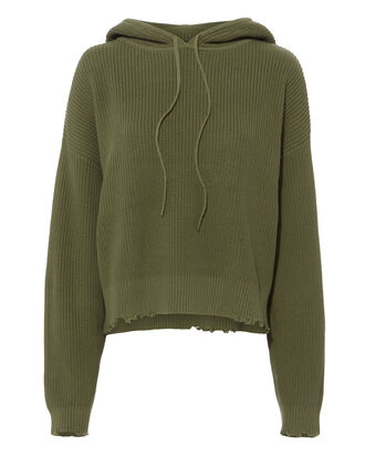 Marvin Green Cropped Hoodie, ARMY GREEN, hi-res