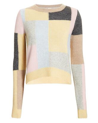 Patchwork Brushed Cashmere Sweater, BEIGE/MULTI, hi-res