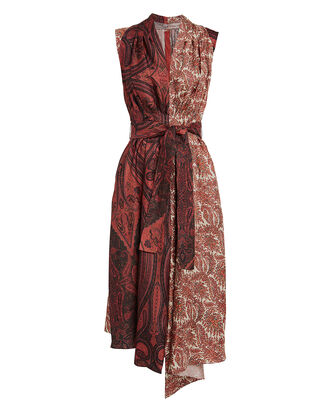 Paisley Sleeveless Silk Dress, RED-DRK, hi-res