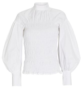 Smocked Poplin Puff Sleeve Blouse, WHITE, hi-res