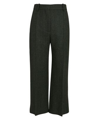 Pintuck Cropped Flare Trousers, GREEN, hi-res