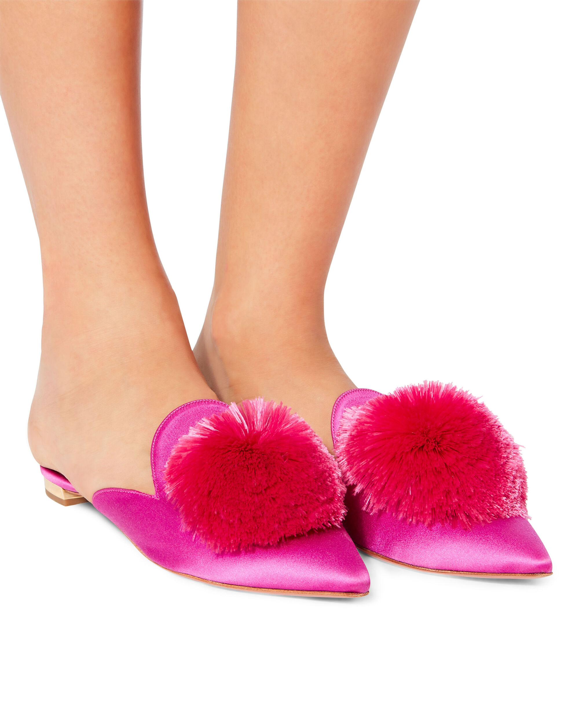 Powder Puff Pink Satin Slides, PINK, hi-res
