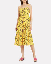 Tiered Button Down Midi Dress, YELLOW/BLACK FLORAL, hi-res