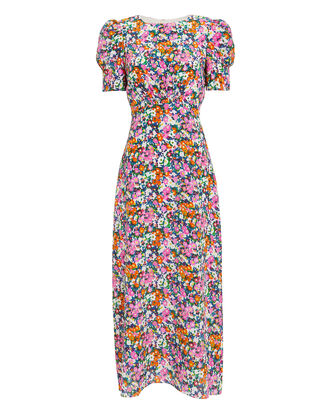 Bianca Floral Print Midi Dress, PINK/ORANGE/BLUE, hi-res