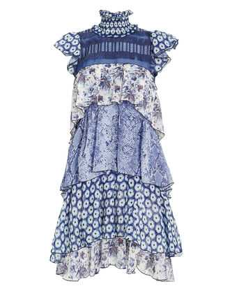 Matilda Tiered Mini Dress, BLUE/WHITE, hi-res