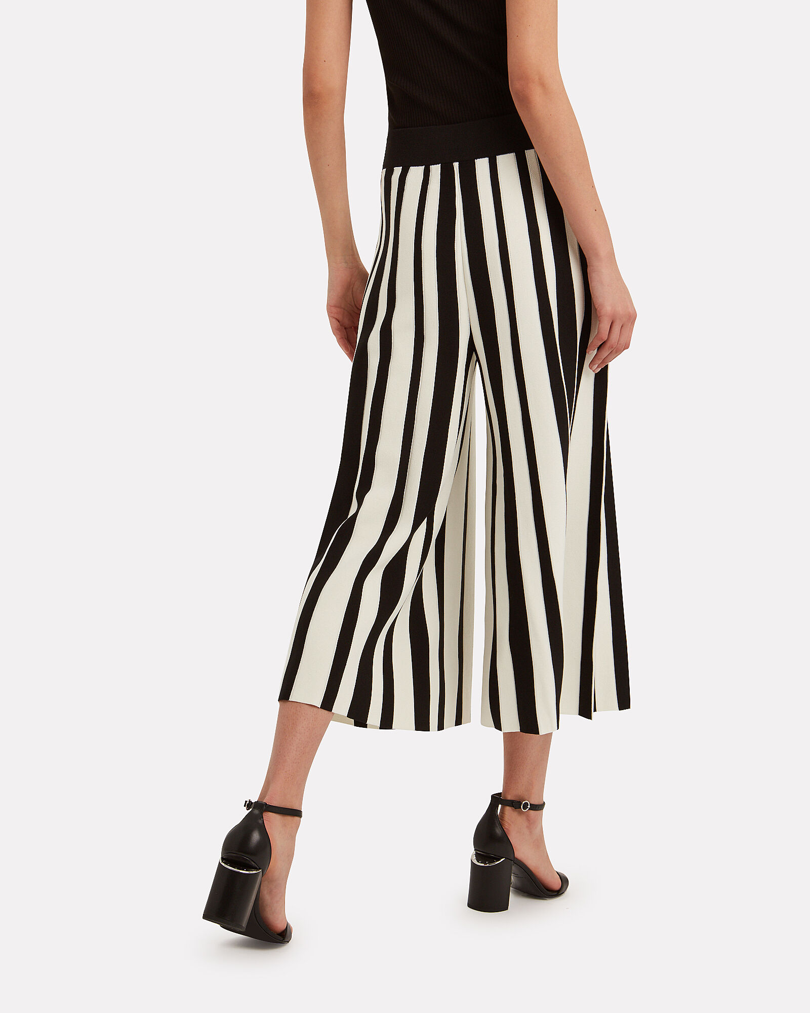Wide Leg Striped Pants, BLK/WHT, hi-res