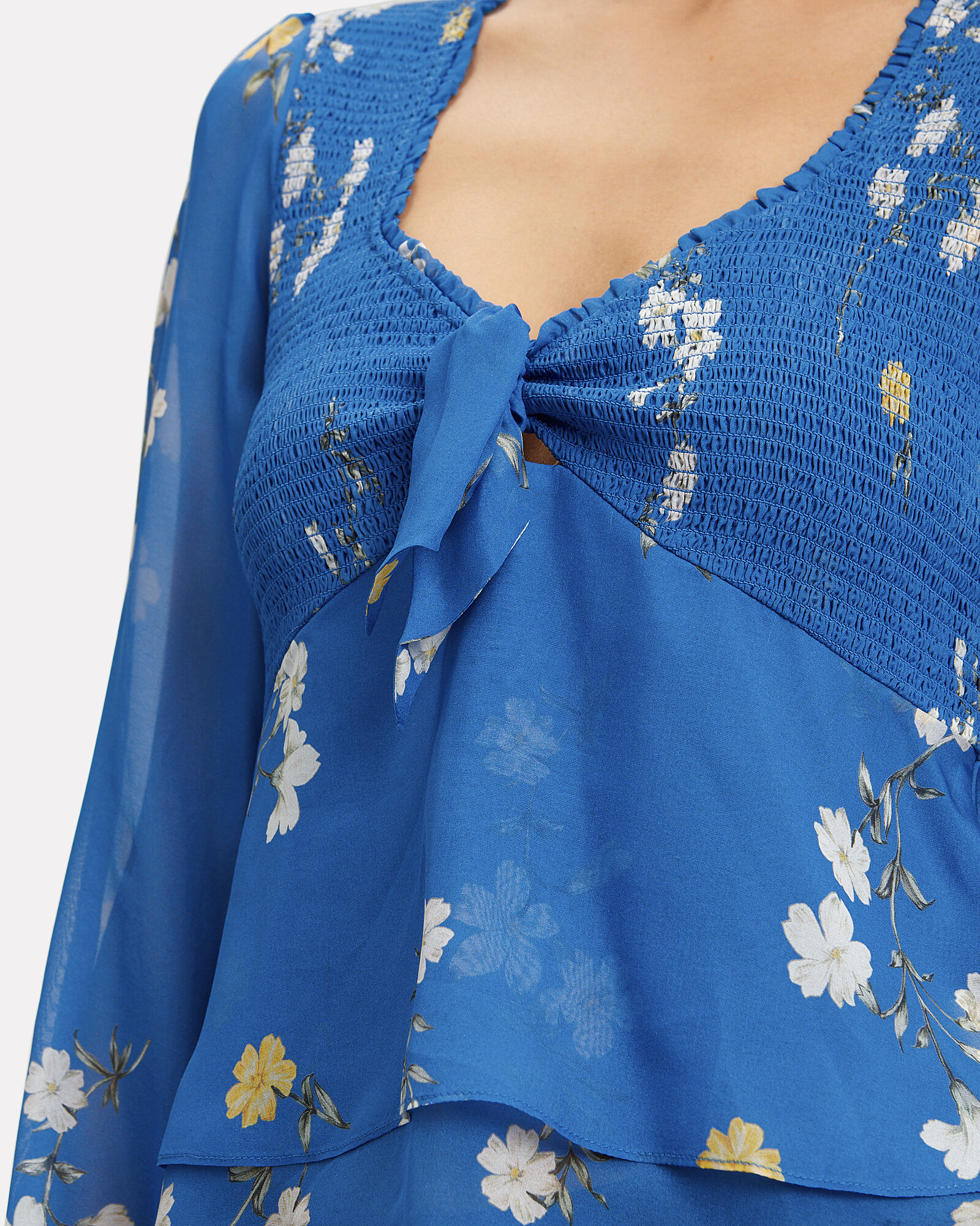 Lucia Smocked Top, BLUE-MED, hi-res