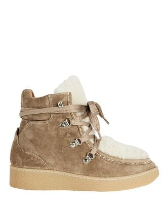 Alpica Shearling Ankle Boots, BROWN, hi-res