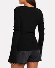 Chain Trim Split Cuff Top, , hi-res