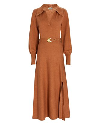 Katya Cotton-Wool Sweater Dress, BROWN, hi-res