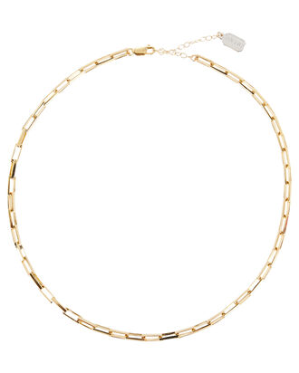 Rectangle Paperclip Chain Necklace, GOLD, hi-res